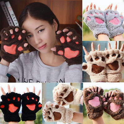 Fashion Girl Winter Warm Cute Animal Cat Paws Pashm Mitten Fingerless Gloves