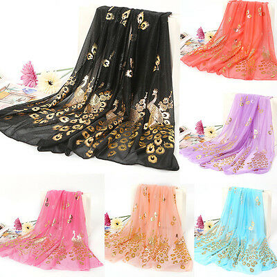 Women Fashion Gold Peacock Flower Print Long Soft Scarf Wrap Shawl Scarves Stole