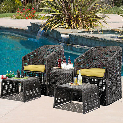 5PCS Chair Rattan Garden Furniture Set Dining Table Weave Outdoor W/Footstools