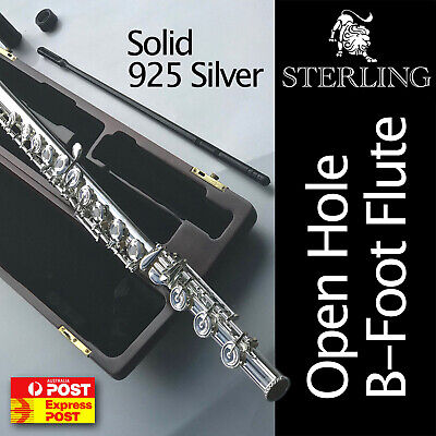 24K Gold-Plated OHB B-Foot Flute • STERLING Open Hole B • With Case • BRAND NEW