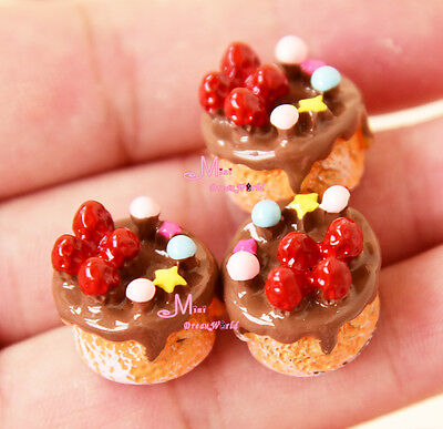 Lot of 3 PCS 1/12  Scale Dollhouse Miniature Food CHOCOLATE Strawberry CAKES