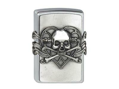 "ZIPPO ""SKULL WITH HEART"" CHROME 3D EMBLEM LIGHTER / 2001330 ** NEW in BOX **"