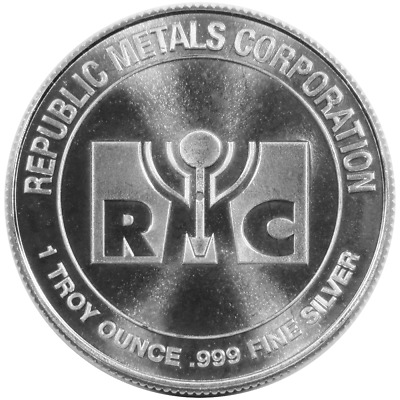 1 Troy oz RMC Republic Metals .999 Fine Silver Round