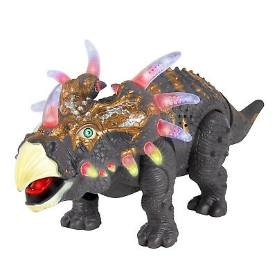 BCP 14in Kids Interactive Walking Triceratops Dinosaur RC Toy w/ Lights, Sound