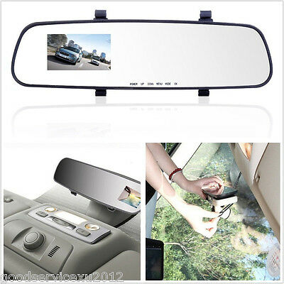 """IR Night Vision 2.4"""" LCD Color Car Camera DVR Rearview Mirror Driving Tachograph"""