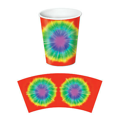8 ct GROOVY 60's Tie-Dyed 9 oz hot/cold Paper Cups Birthday Party Tableware