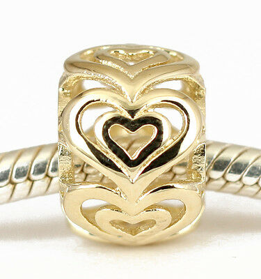 SOLID 9CT 9K GOLD Beautiful Love Hearts Bead For Charm Bracelet / Necklace AUST