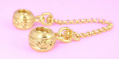 GENUINE SOLID 9CT 9K GOLD Threaded Safety Chain FIT P. EURO CHARM BEAD BRACELET