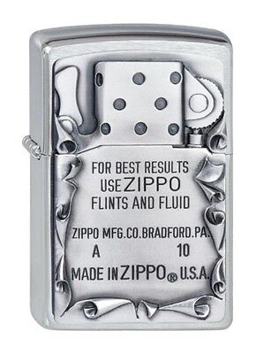 "ZIPPO ""USE ZIPPO"" BRUSHED CHROME EMBLEM LIGHTER / 2001660 3D * NEW in BOX *"