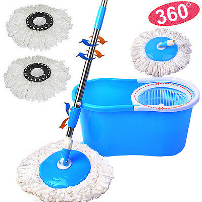 360° Floor Cleaner Magic Spin Mop+Bucket+2 Rotating Dry Microfiber Heads Blue