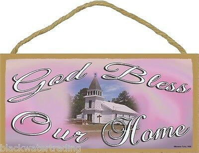 """God Bless Our Home Church Religious Sign Plaque 5""""x10"""""""