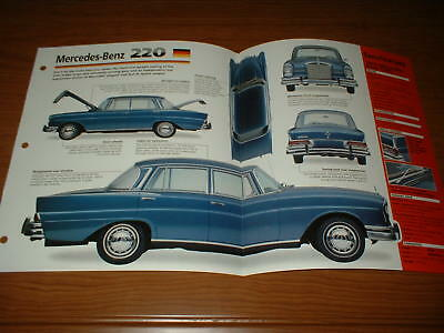 1965 Mercedes-Benz 220S Spec Sheet Brochure Photo Print 220 S Series 65 64 63 62