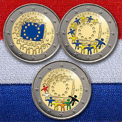 3 x 2 EURO GEDENKMÜNZE MÜNZE COIN NETHERLANDS EUROPEAN FLAG 2015 COLORED COLOR