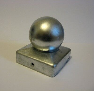 """75mm Galvanised/Black Square Metal Fence/Gate Flange and Ball Caps for 3"""" posts"""