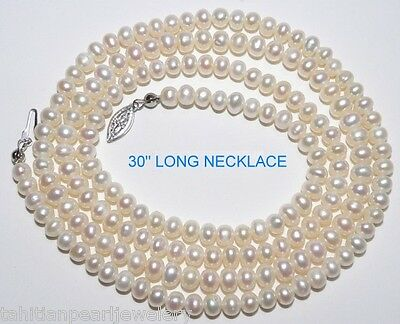 """Aaa Grade 30"""" Long White Freshwater Pearl Necklace"""