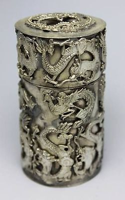 Chinese Old Hand Tibet-Silver Dragon Toothpick Box