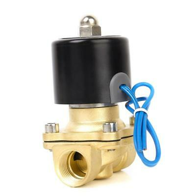 "DC24V 1/2"" Brass Electric Solenoid Valve Water Air Fuels Gas Normally Closed NC"