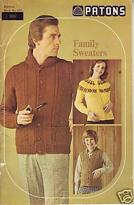 Patons Family Sweaters vintage knitting pattern book