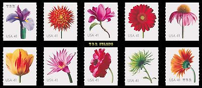 4166-75 4175 Beautiful Blooms 41c Coil Singles Complete Set of 10 MNH - Buy Now