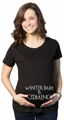 Maternity Winter Baby Is Coming T shirt Geeky Novelty Pregnancy Tee