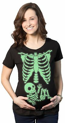 Maternity Glowing Skeleton T-Shirt Funny Baby Halloween Pregnancy Tee