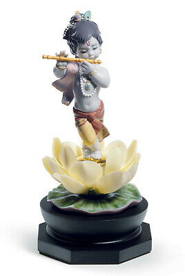 Lladro Bal Gopal With Base#8659 Brand New In Box Hinduism Flower Flute Save$ F/s