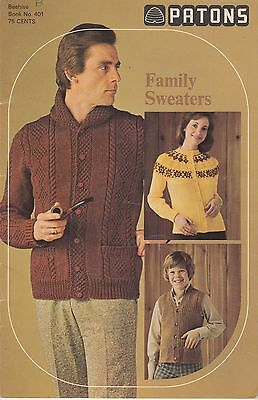 Patons Family Sweaters (B) vintage knitting pattern book