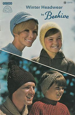Winter Headwear by Beehive knitting patterns adult & child hats toques berets