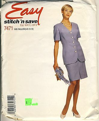 McCall's #7471 Misses' jacket & skirt sewing size A 6 to 12 - 1995