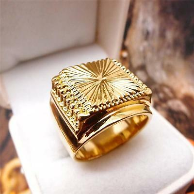 Men Jewelry Hip Hop 18K Yellow Gold Filled Men's Ring R70 9#-11#