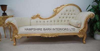 Ornate Gold Leaf Chaise Ivory fabric buttoned Carved Home  Events Wedding