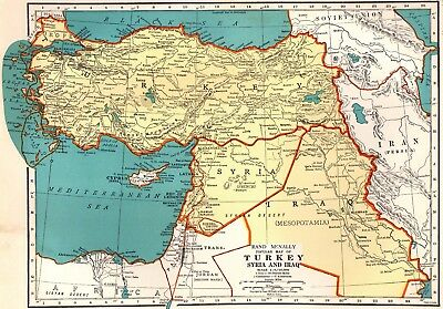 1938 Vintage MAP of TURKEY Syria IRAQ Map Gallery Wall Art Middle East Map 2187