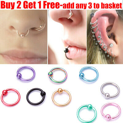 Surgical Steel Ball Closure Lip Ring Ear Nose Ring Eyebrow Hoop Ring 8mm*1.2mm