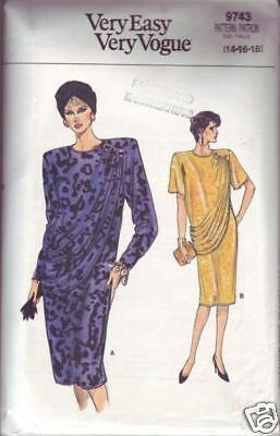 Vogue #9743 sewing pattern Misses' Dress size 14 - 16 - 18 copyright 1986