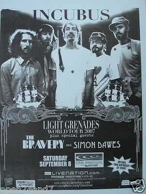 "Incubus / The Bravery 2007 ""light Grenades World Tour"" San Diego Concert Poster"