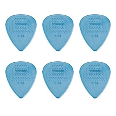 6 X Jim Dunlop Max Grip Nylon 1.14mm Gauge Grey Guitar Picks *NEW* Free Post