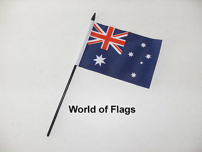"AUSTRALIA SMALL HAND WAVING FLAG 6"" x 4"" Australian Oceania Crafts Table Display"