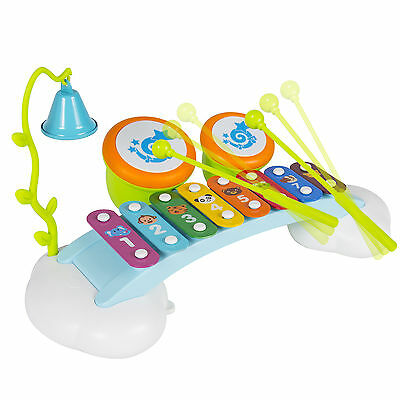 Musical Rainbow Xylophone Piano Bridge for Kids with Ringing Bell and Drums
