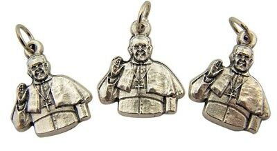 """Lot of 3 Silver Tone Catholic Leader Pope Francis Silhouette Medal Charm 7/8"""""""