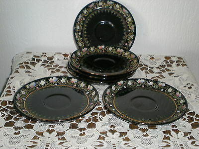6 Sous Tasses Faience Anglaise Decor Emaille Sydenham - Border