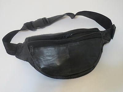 Black Genuine Leather Fanny Pack Waist Bag Hip Belt Pouch Travel Purse Men Women