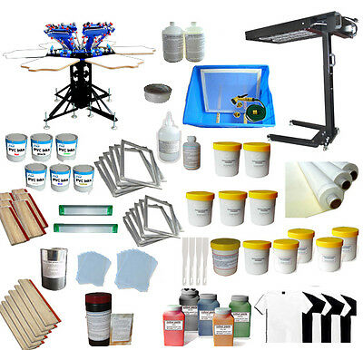 6 Color Silk Screening Press Kit adjustable Printer/ Flash Dryer All Supplies