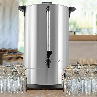 100 Cup Large Coffee Dispenser Urn Big Silver Commercial Brewer Maker Wedding Z