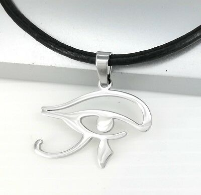 Silver Egypt Eye of Horus Wadjet Udjat Pendant Black Leather Choker Necklace