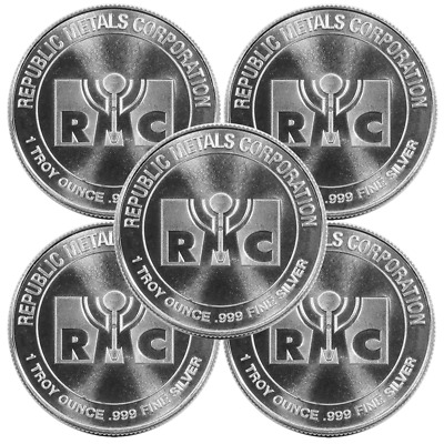 Lot of 5 - 1 Troy oz RMC Republic Metals .999 Fine Silver Round