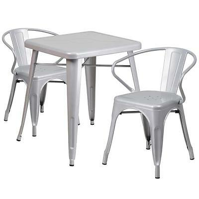 Silver Metal Restaurant Table Set With 2 Arm Chairs