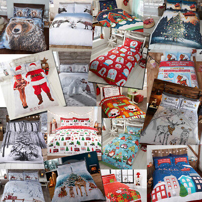 Winter & Christmas Print Duvet Quilt Cover Bedding Set & Pillowcases from £9.75