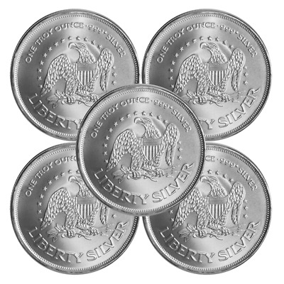 Lot of 5 - 1 Troy oz A-Mark .999 Fine Silver Round