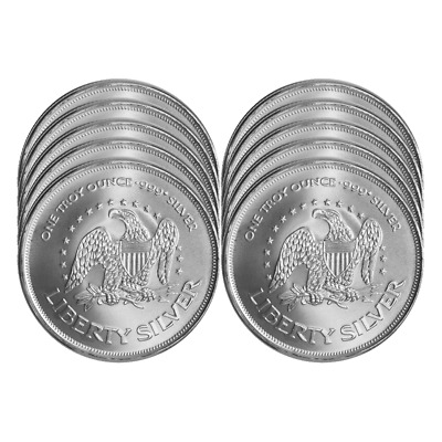 Lot of 10 - 1 Troy oz A-Mark .999 Fine Silver Round