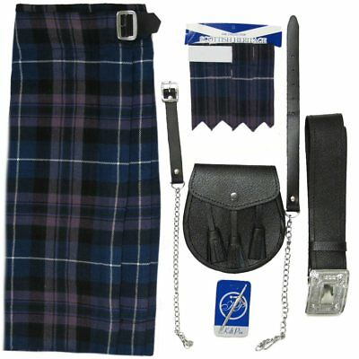 Mens Honour Of Scotland Tartan 5 pc Kilt Kit - Kilt Sporran Pin Belt Flash 30-54